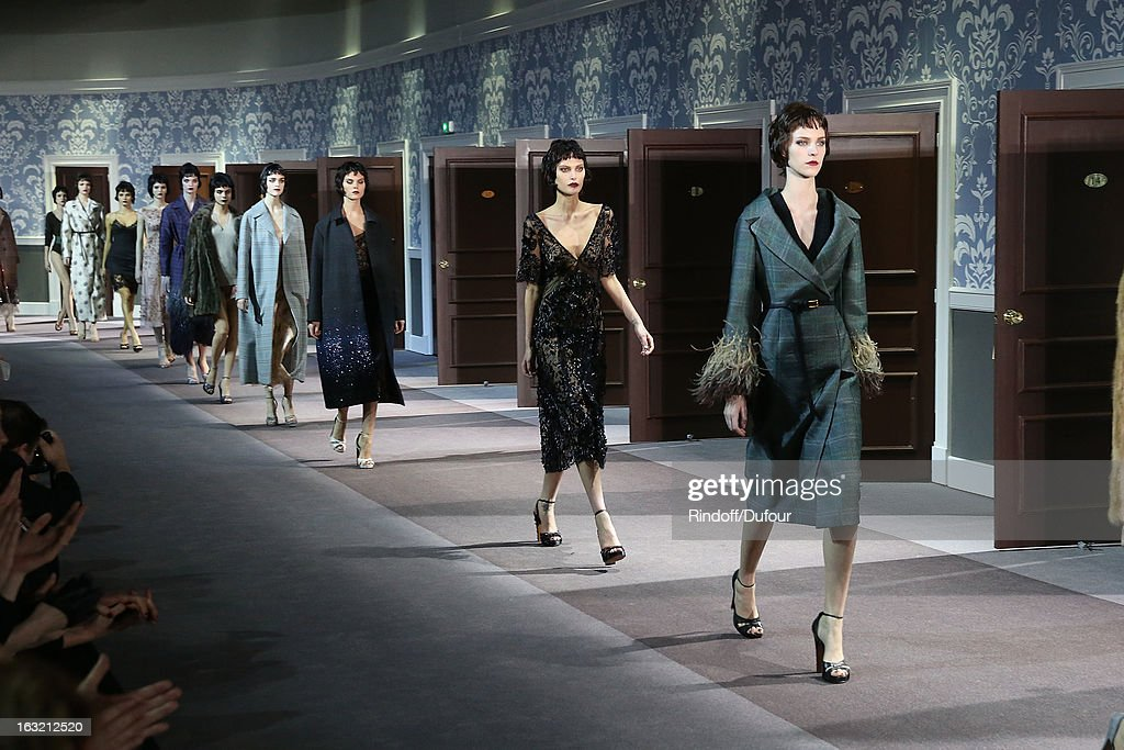 Models walk the runway for final during the Louis Vuitton Fall/Winter 2013 Ready-to-Wear show as part of Paris Fashion Week on March 6, 2013 in Paris, France.