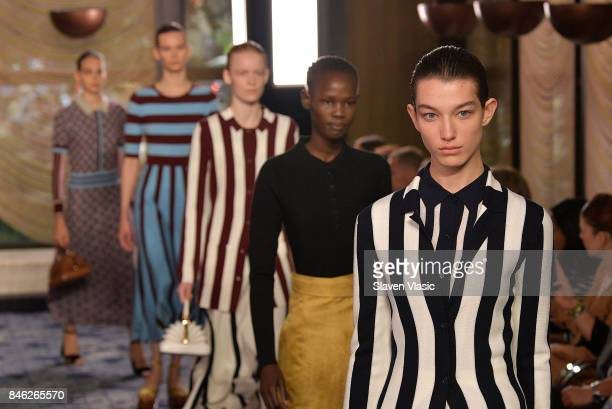 Models walk the runway for Gabriela Hearst fashion show during New York Fashion Week at The Pool at Four Season Hotel on September 12 2017 in New...