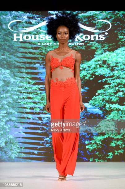 Models walk the runway for Giulia Bechi on day 1 of the House of iKons show during London Fashion Week September 2018 at the Millennium Gloucester...