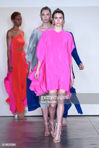 Models walk the runway for Global Fashion Collective Presents Caroline Ann Designs At New York Fashion Week Fall 2018 at Industria Studios on...