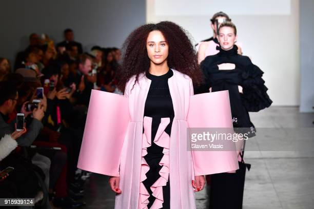 Models walk the runway for Global Fashion Collective Presents Kim Tiziana Rottmuller during New York Fashion Week First Stage at Industria Studios on...