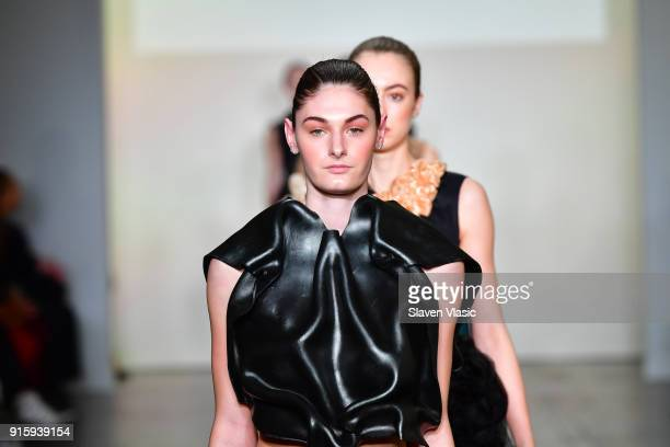 Models walk the runway for Global Fashion Collective Presents KIRSTEN LEY during New York Fashion Week First Stage at Industria Studios on February 8...