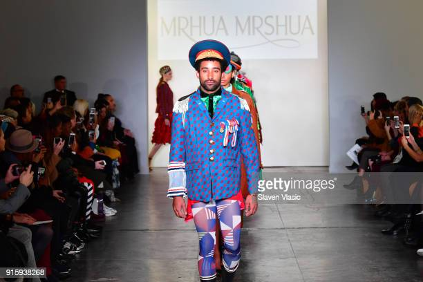Models walk the runway for Global Fashion Collective Presents MRHUA MRSHUA during New York Fashion Week First Stage at Industria Studios on February...