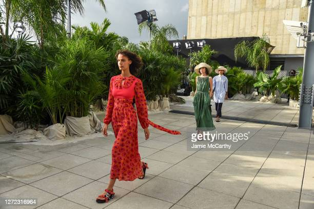 Models walk the runway for Jason Wu - September 2020 during New York Fashion Week: The Shows at Spring Studios Terrace on September 13, 2020 in New...