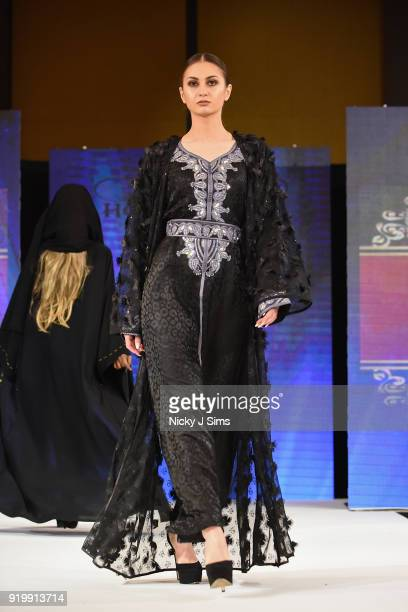 Models walk the runway for Jolie at the House of iKons show during London Fashion Week February 2018 at Millenium Gloucester London Hotel on February...
