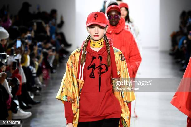 Models walk the runway for Just In XX fashion show during New York Fashion Week The Shows at Gallery II at Spring Studios on February 9 2018 in New...