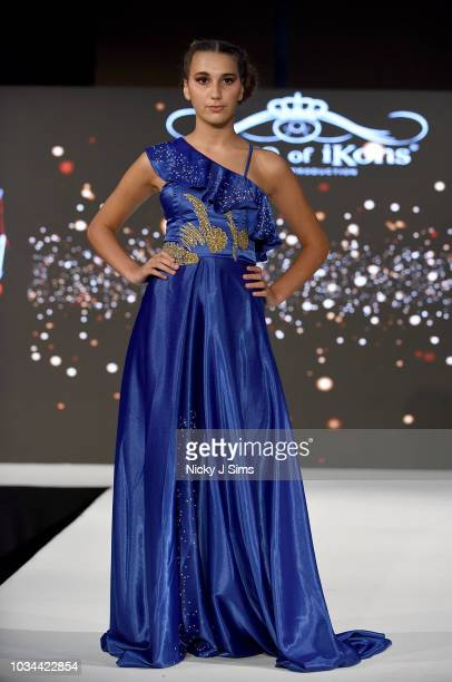 Models walk the runway for Korn Taylor on day 2 of the House of iKons show during London Fashion Week September 2018 at the Millennium Gloucester...