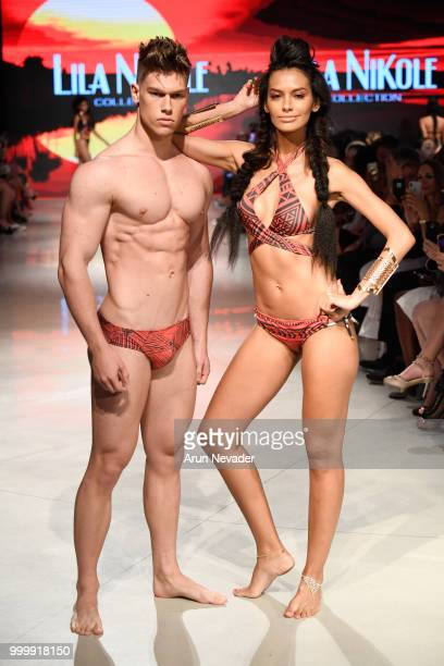 Designer Lila Nikole Rivera walks the runway for Lila Nikole at Miami Swim Week powered by Art Hearts Fashion Swim/Resort 2018/19 at Faena Forum on...