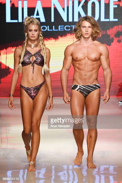 Models walk the runway for Lila Nikole at Miami Swim Week powered by Art Hearts Fashion Swim/Resort 2018/19 at Faena Forum on July 15 2018 in Miami...