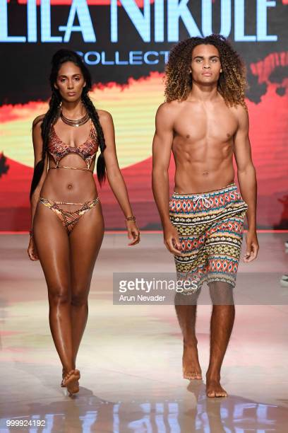 Models walk the runway for Lila Nikole at Miami Swim Week powered by Art Hearts Fashion Swim/Resort 2018/19 at Faena Forum on July 15, 2018 in Miami...