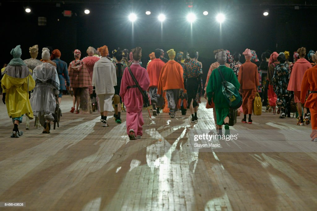 Models walk the runway for Marc Jacobs SS18 fashion show during New York Fashion Week at Park Avenue Armory on September 13, 2017 in New York City.