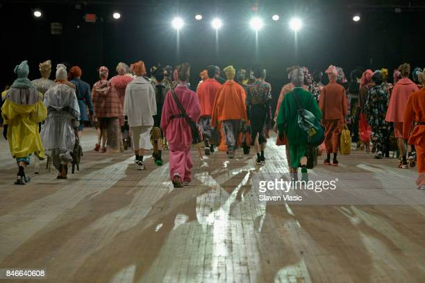 Models walk the runway for Marc Jacobs SS18 fashion show during New York Fashion Week at Park Avenue Armory on September 13 2017 in New York City
