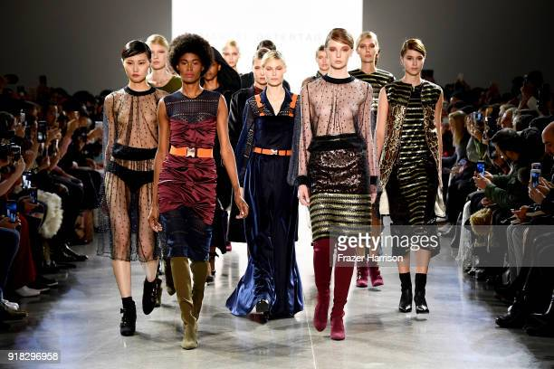 Models walk the runway for Marcel Ostertag during New York Fashion Week The Shows at Gallery II at Spring Studios on February 14 2018 in New York City