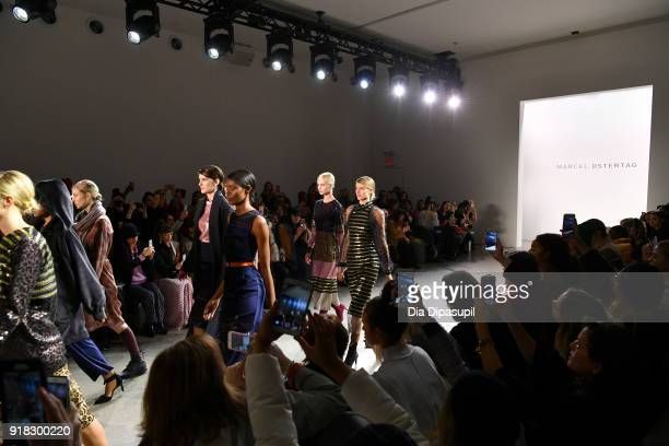 Models walk the runway for Marcel Ostertag front row during New York Fashion Week The Shows at Gallery II at Spring Studios on February 14 2018 in...