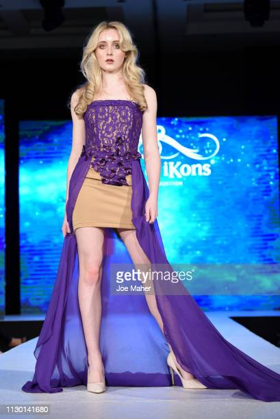 Models walk the runway for MEM Clothing Milano at the House of iKons show during London Fashion Week February 2019 at the Millennium Gloucester...