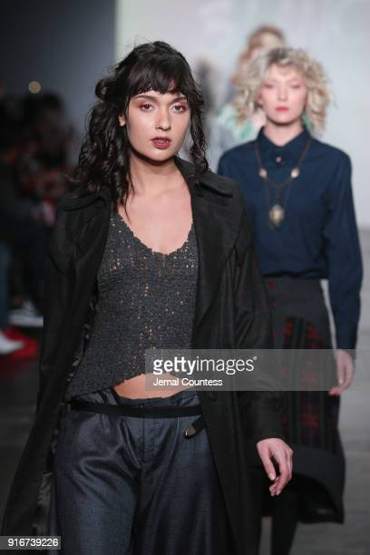 Models walk the runway for Mouton Blanc during the CAAFD Emerging Designer Collective at New York Fashion Week The Shows at at Industria Studios on...