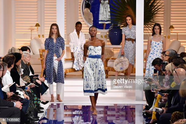 Models walk the runway for Ralph Lauren during New York Fashion Week The Shows at on February 12 2018 in New York City