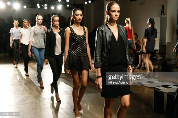 Models walk the runway for rehearsal at the Cushnie Et Ochs fashion show during MADE Fashion Week Spring 2014 at Milk Studios on September 6 2013 in...