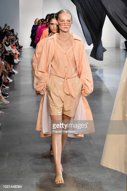 Models walk the runway for Sally LaPointe during New York Fashion Week The Shows at Gallery I at Spring Studios on September 11 2018 in New York City