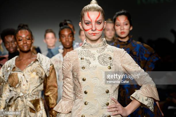 Models walk the runway for Shun Oyama Tokyo at Global Fashion Collective II during New York Fashion Week The Shows at Pier 59 Studios on February 10...