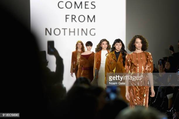 Models walk the runway for the All Comes From Nothing x COOME FW18 show at Gallery II at Spring Studios on February 14 2018 in New York City