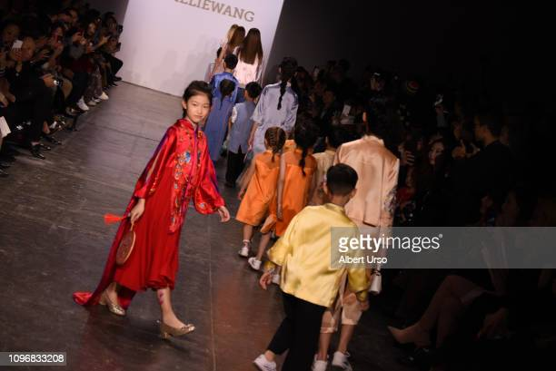 Models walk the runway for the Amelie Wang fashion show during New York Fashion Week The Shows at Industria Studios on February 9 2019 in New York...