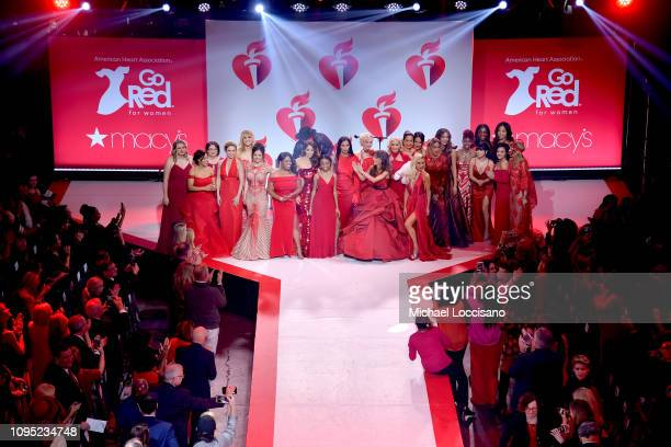 Models walk the runway for The American Heart Association's Go Red For Women Red Dress Collection 2019 Presented By Macy's at Hammerstein Ballroom on...