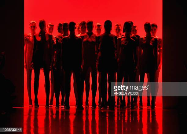 TOPSHOT Models walk the runway for the Badgley Mischka fashion show during New York Fashion Week The Shows at Gallery I at Spring Studios on February...