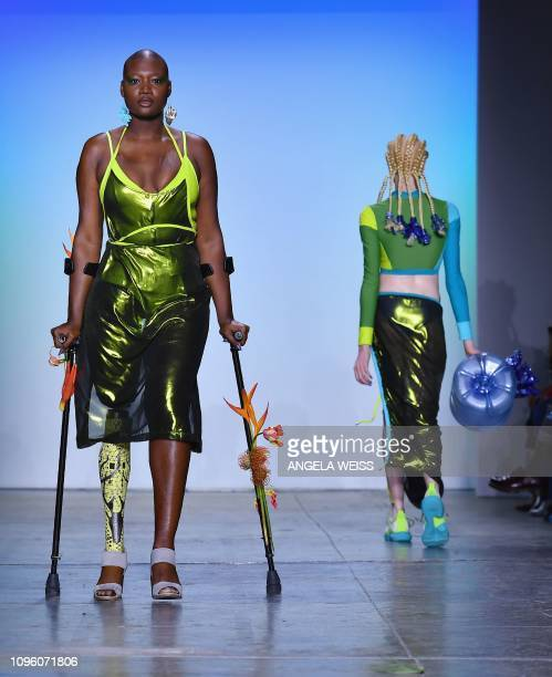 Models walk the runway for the Chromat fashion show during New York Fashion Week The Shows at Industria Studios on February 8 2019 in New York City