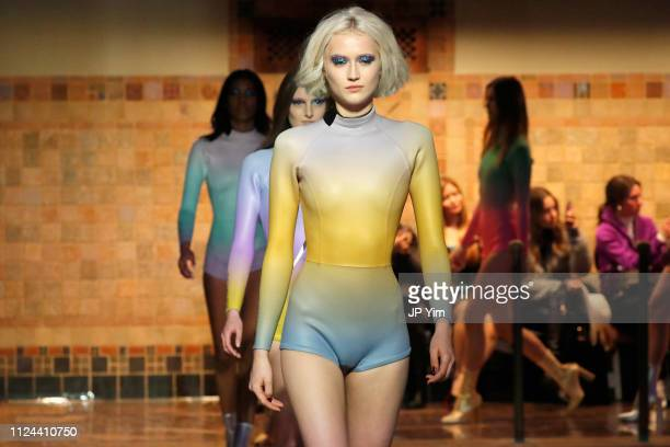 Models walk the runway for the Cynthia Rowley fashion show during New York Fashion Week The Show on February 12 2019 in New York City