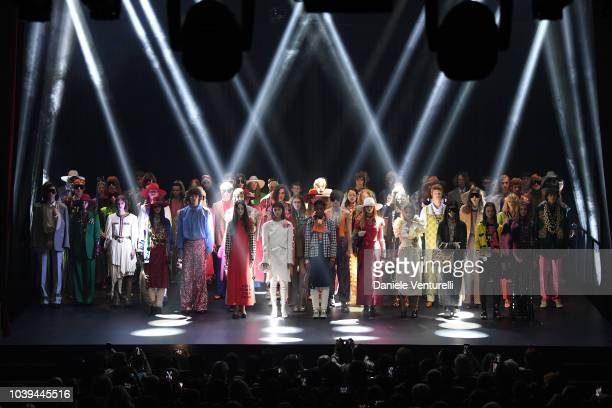 Models walk the runway for the finale at the Gucci show during Paris Fashion Week Spring/Summer 2019 on September 24 2018 in Paris France