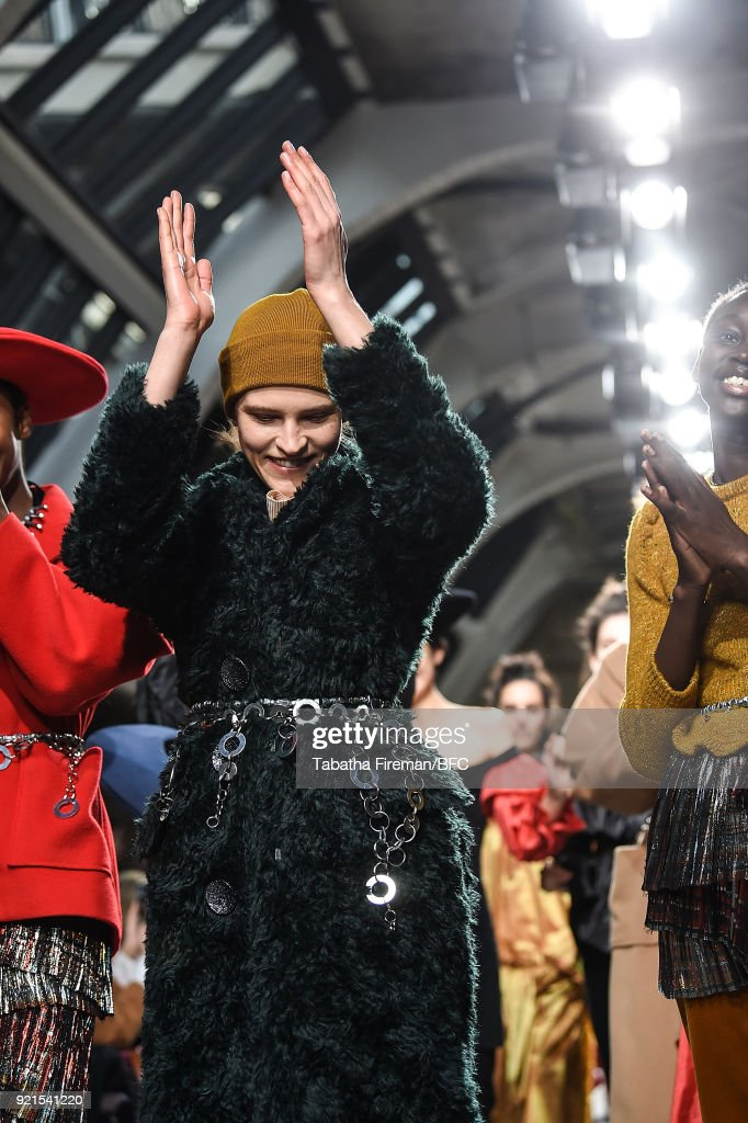 Models walk the runway for the Isa Arfen show during London Fashion Week February 2018 on February 20, 2018 in London, England.