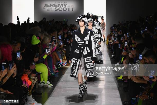 Models walk the runway for the Jeremy Scott fashion show during New York Fashion Week The Shows at Gallery I at Spring Studios on February 8 2019 in...