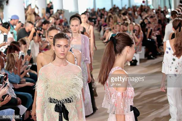 A models walk the runway for the Monique Lhuillier fashion show during New York Fashion Week September 2016 at The IAC Building on September 13 2016...