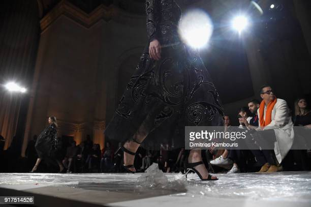 Models walk the runway for the Oscar De La Renta fashion show during New York Fashion Week The Shows at The Cunard Building on February 12 2018 in...