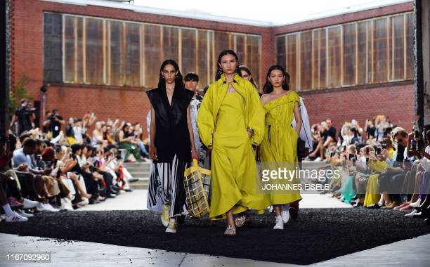 Models walk the runway for the Phillip Lim Spring Summer 20 collection show during New York Fashion Week: The Shows on September 9, 2019 in New York...