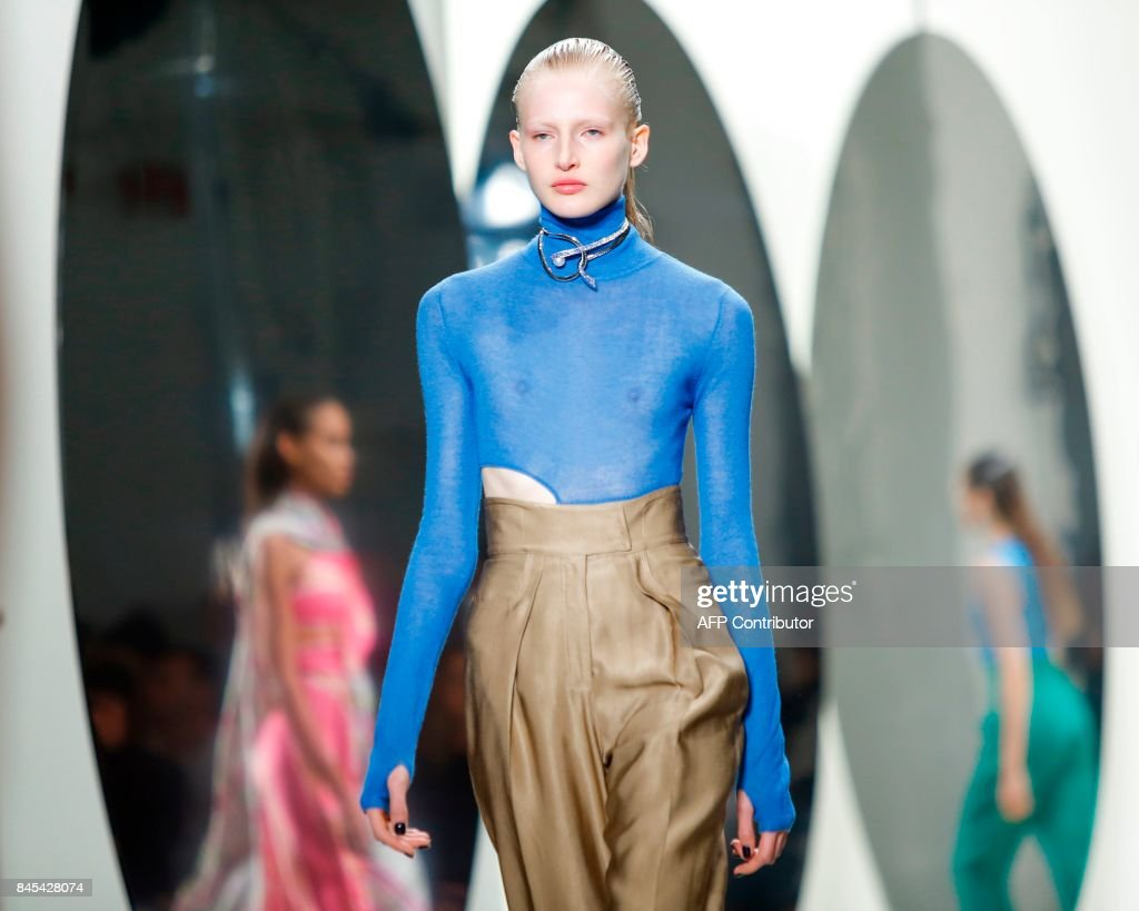 Models walk the runway for the Prabal Gurung SS18 show during New York Fashion Week on September 10, 2017 in New York. /