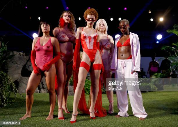 Models walk the runway for the Savage X Fenty Fall/Winter 2018 fashion show during NYFW at the Brooklyn Navy Yard on September 12 2018 in Brooklyn NY
