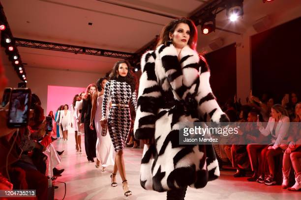 Models walk the runway for the Sergio Hudson fashion show during February 2020 New York Fashion Week The Shows at Gallery II at Spring Studios on...