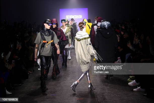 Models walk the runway for the Seven Crash fashion show during New York Fashion Week The Shows at Industria Studios on February 10 2019 in New York...