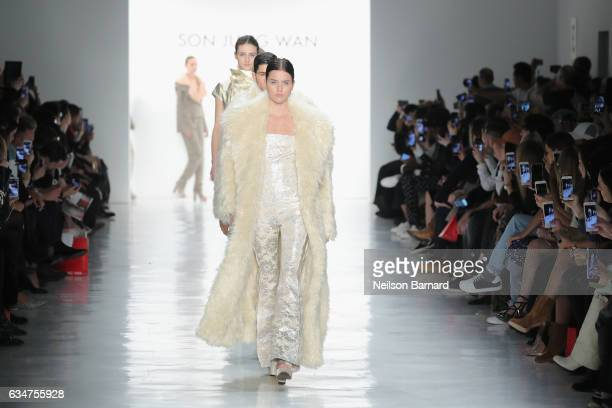 Models walk the runway for the Son Jung Wan collection during New York Fashion Week The Shows at Gallery 3 Skylight Clarkson Sq on February 11 2017...