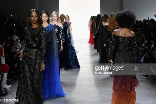 Models walk the runway for the Tadashi Shoji FW'19 Fashion Show during New York Fashion Week: The Shows at Gallery I at Spring Studios on February 7,...
