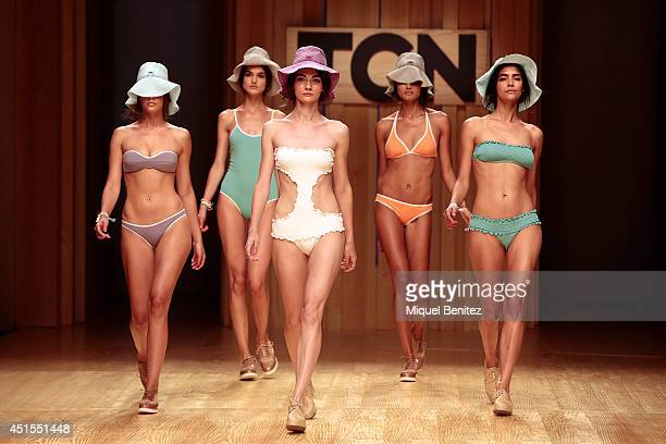 Models walk the runway for the TCN collection during the 080 Barcelona Fashion Spring/Summer 2015 on July 1 2014 in Barcelona Spain