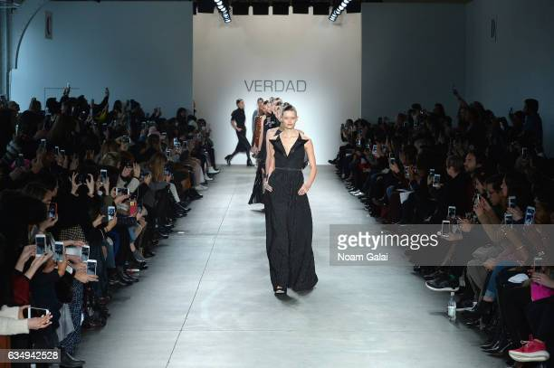 Models walk the runway for the Verdad fashion show during New York Fashion Week at Pier 59 on February 12 2017 in New York City
