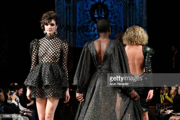 Models walk the runway for WILLFREDO GERARDO At New York Fashion Week Powered By Art Hearts Fashion NYFW at The Angel Orensanz Foundation on February...