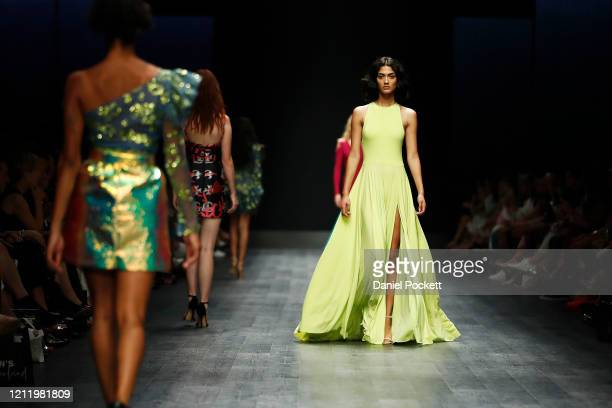Models walk the runway in a design by JASONGRECH during Runway 3 at Melbourne Fashion Festival on March 12 2020 in Melbourne Australia