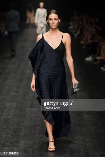 Models walk the runway in designs by Bianca Spender during Runway 2 at Melbourne Fashion Festival on March 11 2020 in Melbourne Australia