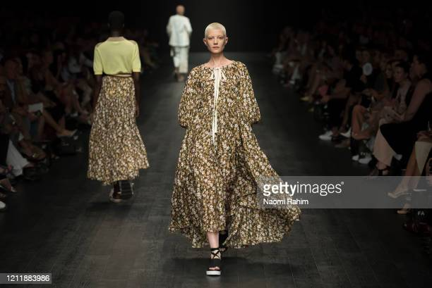 Models walk the runway in designs by Lee Mathews during Runway 2 at Melbourne Fashion Festival on March 11 2020 in Melbourne Australia