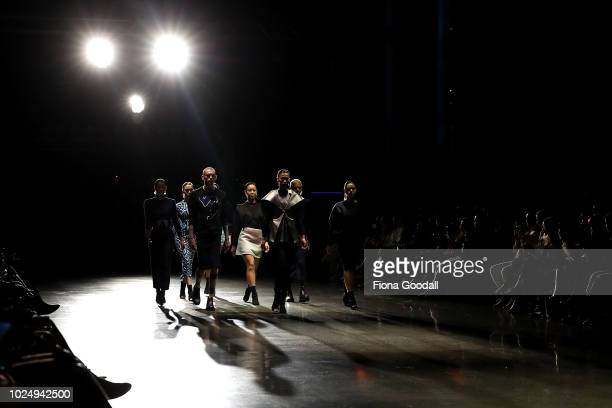 Models walk the runway in designs by Starving Artists Fund during the New Generation show during New Zealand Fashion Week 2018 at Viaduct Events...