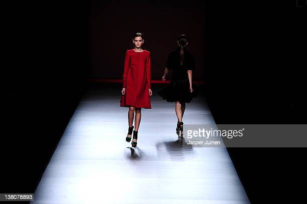 Models walk the runway in the AA de Amaya Arzuaga fashion show during the MercedesBenz Fashion Week Madrid Autumn/Winter 2012 at Ifema on February 2...